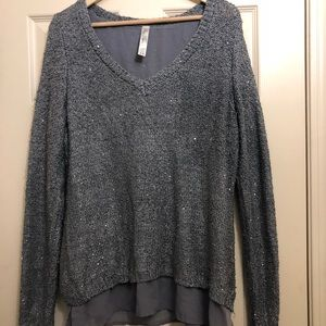 Grey Knitted sweater glittering sequins